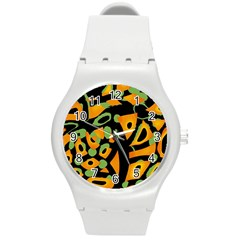 Abstract animal print Round Plastic Sport Watch (M)
