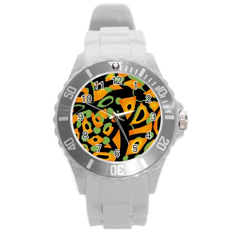 Abstract animal print Round Plastic Sport Watch (L)