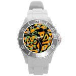 Abstract animal print Round Plastic Sport Watch (L) Front