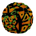 Abstract animal print Large 18  Premium Round Cushions Back