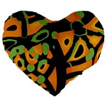 Abstract animal print Large 19  Premium Heart Shape Cushions Front