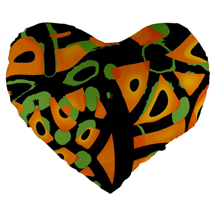 Abstract animal print Large 19  Premium Heart Shape Cushions