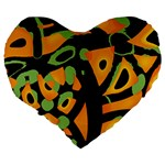 Abstract animal print Large 19  Premium Heart Shape Cushions Back