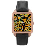 Abstract animal print Rose Gold Leather Watch  Front