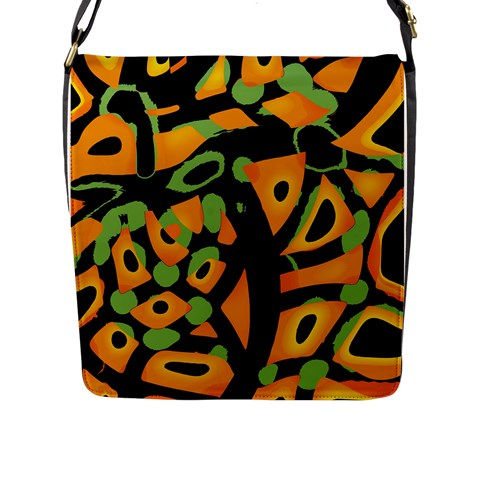 Abstract animal print Flap Messenger Bag (L)