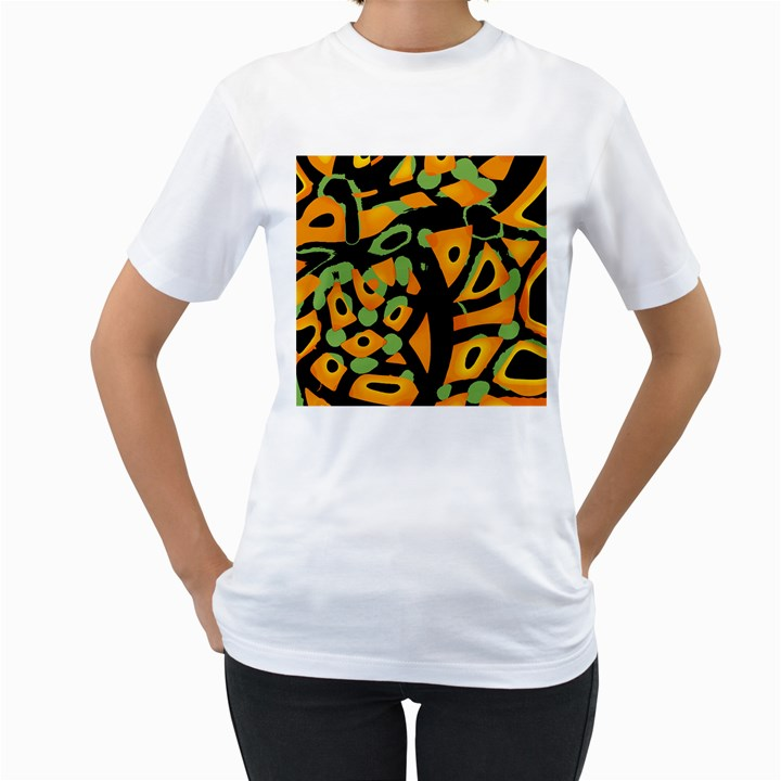 Abstract animal print Women s T-Shirt (White)