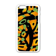 Abstract animal print Apple iPhone 6/6S White Enamel Case