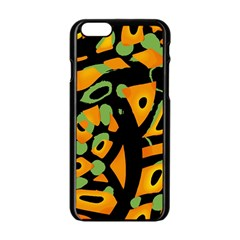 Abstract Animal Print Apple Iphone 6/6s Black Enamel Case