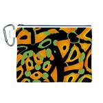 Abstract animal print Canvas Cosmetic Bag (L) Front