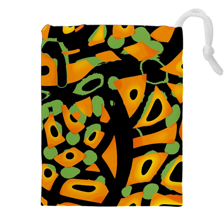 Abstract animal print Drawstring Pouches (XXL)