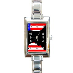 Australian Shepherd Silo Usa Flag Rectangle Italian Charm Watch