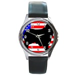 Australian Shepherd Silo Usa Flag Round Metal Watch Front