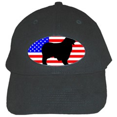 Australian Shepherd Silo Usa Flag Black Cap