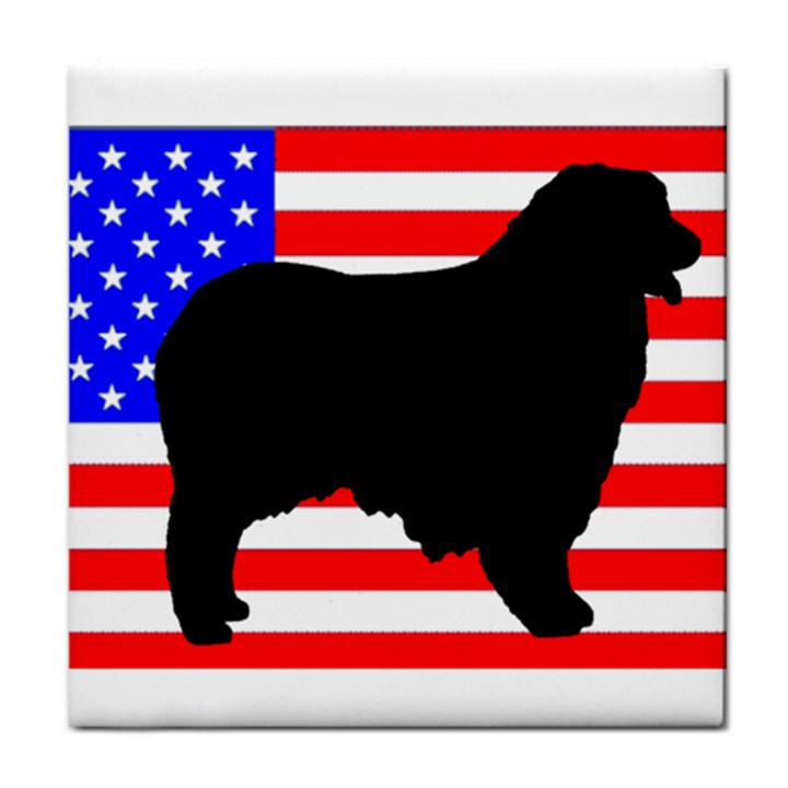 Australian Shepherd Silo Usa Flag Tile Coasters