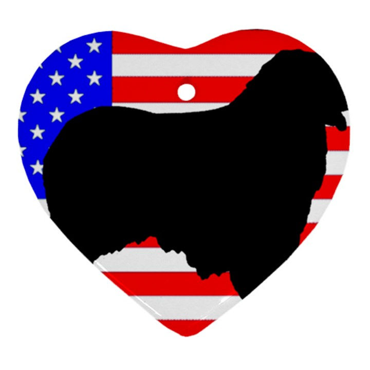 Australian Shepherd Silo Usa Flag Ornament (Heart)