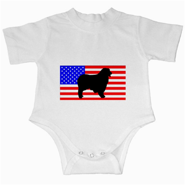 Australian Shepherd Silo Usa Flag Infant Creepers
