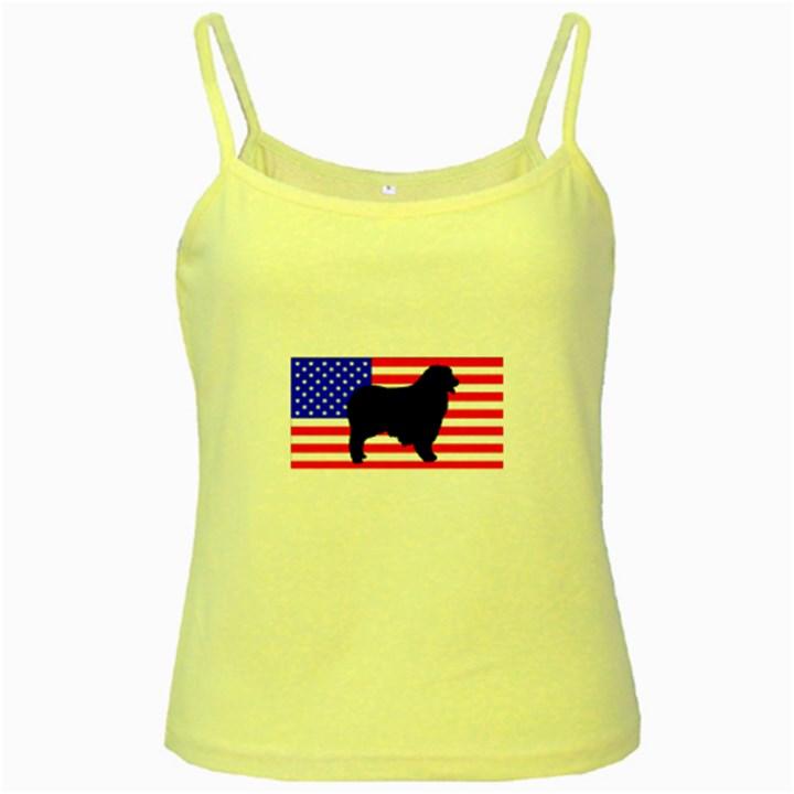 Australian Shepherd Silo Usa Flag Yellow Spaghetti Tank