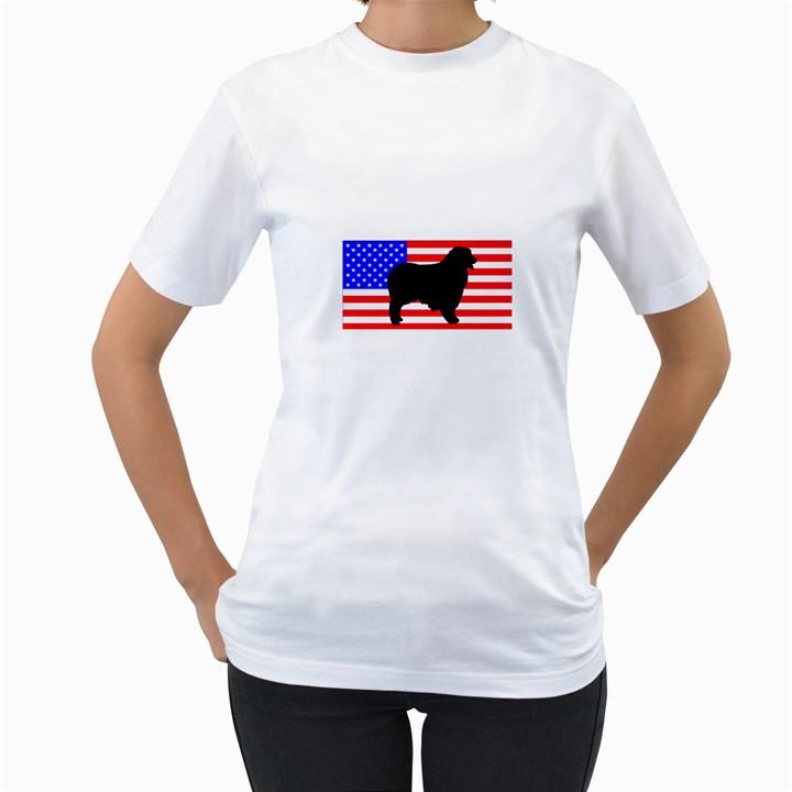 Australian Shepherd Silo Usa Flag Women s T-Shirt (White) (Two Sided)