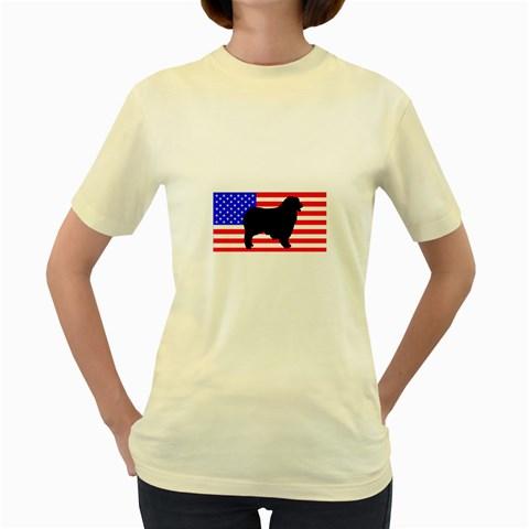 Australian Shepherd Silo Usa Flag Women s Yellow T-Shirt