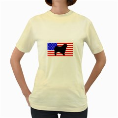 Australian Shepherd Silo Usa Flag Women s Yellow T-Shirt