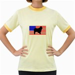 Australian Shepherd Silo Usa Flag Women s Fitted Ringer T-Shirts Front