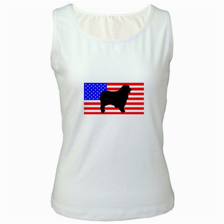 Australian Shepherd Silo Usa Flag Women s White Tank Top