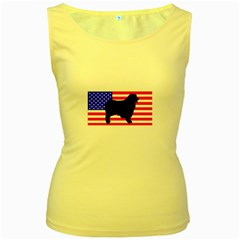 Australian Shepherd Silo Usa Flag Women s Yellow Tank Top