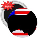 Australian Shepherd Silo Usa Flag 3  Magnets (10 pack)  Front