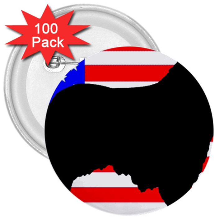 Australian Shepherd Silo Usa Flag 3  Buttons (100 pack)