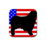 Australian Shepherd Silo Usa Flag Rubber Square Coaster (4 pack)  Front
