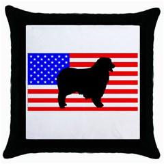 Australian Shepherd Silo Usa Flag Throw Pillow Case (Black)