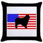Australian Shepherd Silo Usa Flag Throw Pillow Case (Black) Front