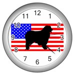 Australian Shepherd Silo Usa Flag Wall Clocks (Silver)  Front