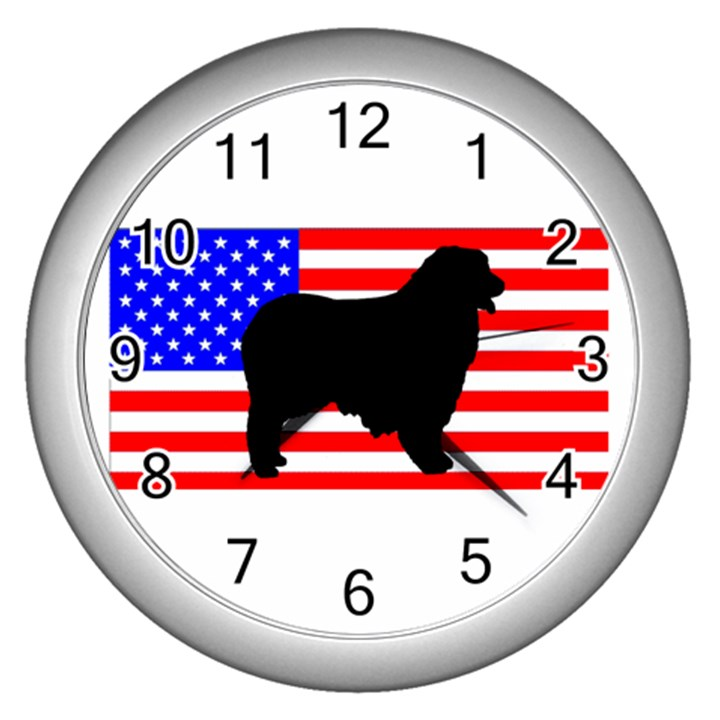 Australian Shepherd Silo Usa Flag Wall Clocks (Silver)