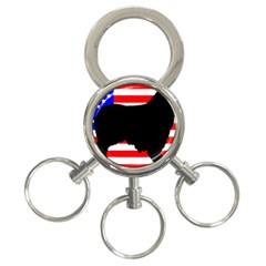 Australian Shepherd Silo Usa Flag 3-Ring Key Chains