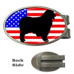 Australian Shepherd Silo Usa Flag Money Clips (Oval)  Front
