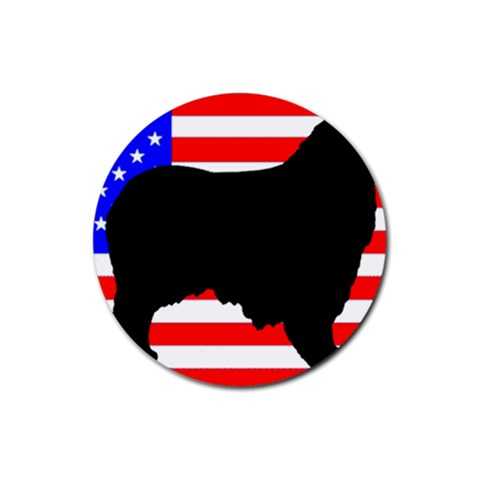 Australian Shepherd Silo Usa Flag Rubber Round Coaster (4 pack)