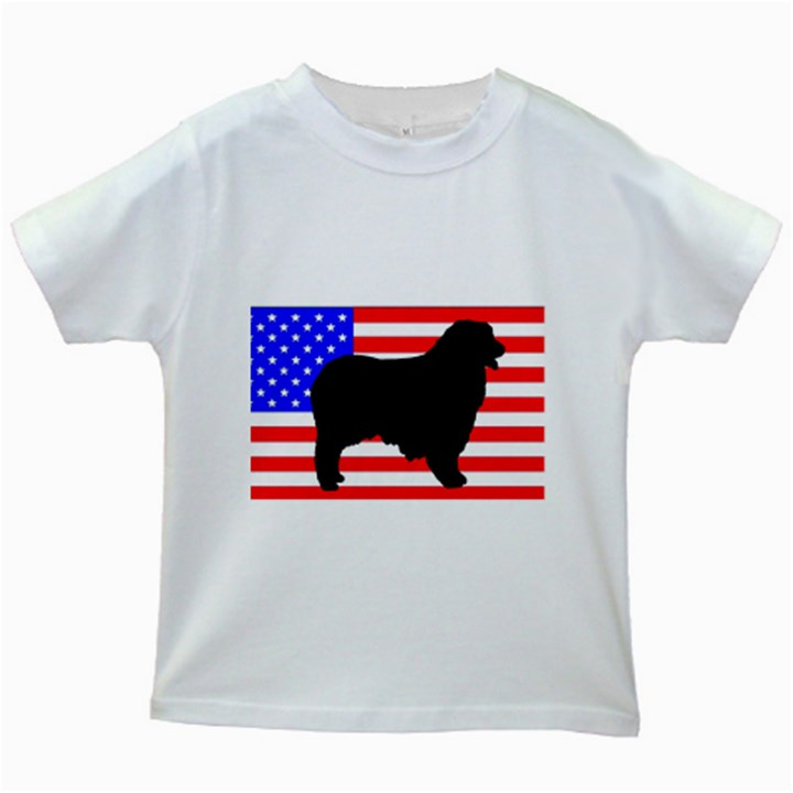 Australian Shepherd Silo Usa Flag Kids White T-Shirts