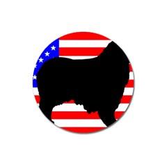 Australian Shepherd Silo Usa Flag Magnet 3  (Round)