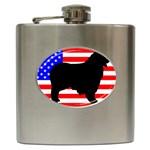 Australian Shepherd Silo Usa Flag Hip Flask (6 oz) Front