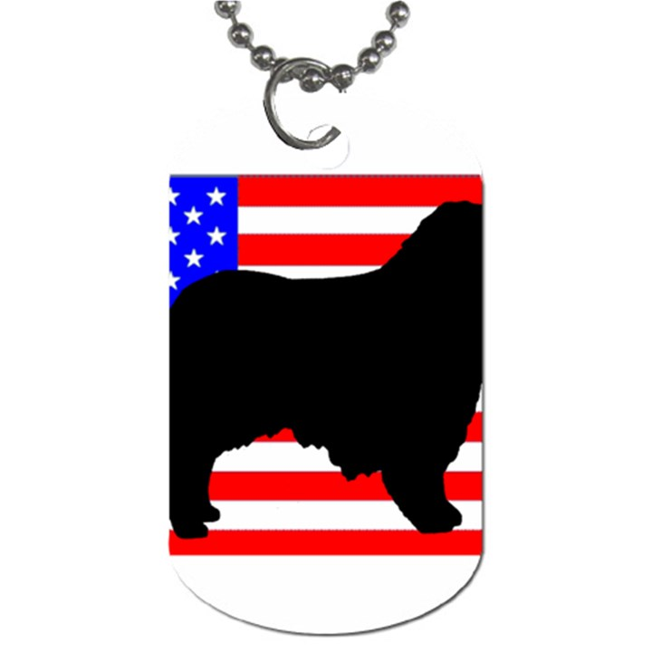 Australian Shepherd Silo Usa Flag Dog Tag (Two Sides)