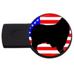 Australian Shepherd Silo Usa Flag USB Flash Drive Round (1 GB)  Front