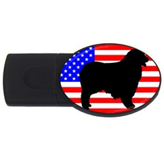 Australian Shepherd Silo Usa Flag USB Flash Drive Oval (1 GB)