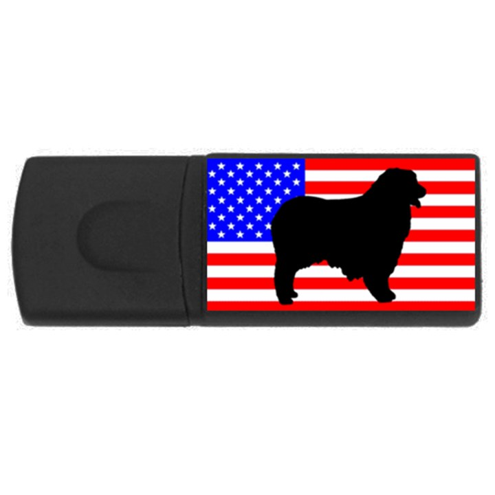 Australian Shepherd Silo Usa Flag USB Flash Drive Rectangular (2 GB)