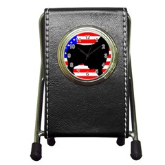 Australian Shepherd Silo Usa Flag Pen Holder Desk Clocks
