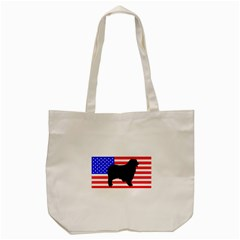 Australian Shepherd Silo Usa Flag Tote Bag (Cream)