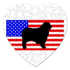 Australian Shepherd Silo Usa Flag Jigsaw Puzzle (Heart)
