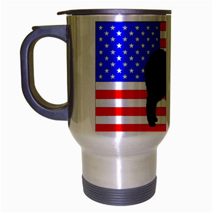 Australian Shepherd Silo Usa Flag Travel Mug (Silver Gray)