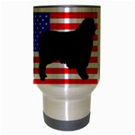 Australian Shepherd Silo Usa Flag Travel Mug (Silver Gray) Center