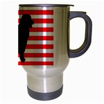 Australian Shepherd Silo Usa Flag Travel Mug (Silver Gray) Right
